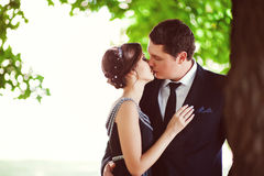 Beautiful kissing happy couple in love Royalty Free Stock Images