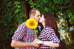 Beautiful kissing happy couple in love Royalty Free Stock Image