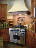 Beautiful Kitchen. With a European design granite counters marble floors tile backsplash Royalty Free Stock Images