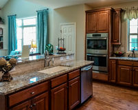 Beautiful Kitchen with Hardwood Floors Granite Countertops and S. A nice modern kitchen in a new house Stock Images