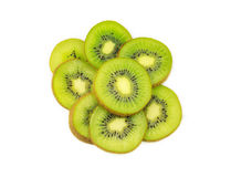 Beautiful kiwi fruit slices isolated on white Royalty Free Stock Photos