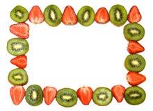 Beautiful kiwi and strawberry frame stock images