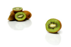 Beautiful kiwis. Isolated over a white background royalty free stock photography