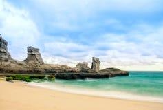 Beautiful klayar beach, east java, indonesia sea blue sky. Beautiful klayar beach, east java, indonesia blue sea background nature photography royalty free stock photo