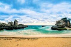 Beautiful klayar beach, east java, indonesia blue sea. Background nature photography royalty free stock photo