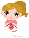 Beautiful knitting Girl Stock Photo