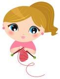 Beautiful knitting Girl stock illustration