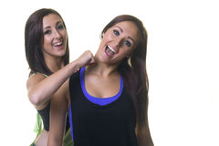 Beautiful knock out twins play fighting Stock Photos