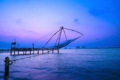 Beautiful Kochi chinese fishnets in twilight Kochi, Kerala. Fort Stock Photo