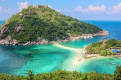 Koh Tao Island in Thailand. Beautiful Koh Tao Island in Thailand from the top with sky and clouds visible Stock Images