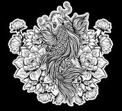 Beautiful Koi carp fish with lotus flowers. Beautiful hand drawn Koi carp fish in lotus water lily flowers. Ornate Asian animal. Symbol of spirituality Stock Photos