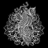 Beautiful Koi carp fish with lotus flowers. Beautiful hand drawn Koi carp fish in lotus water lily flowers. Ornate Asian animal. Symbol of spirituality Royalty Free Stock Photo