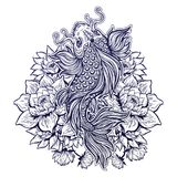Beautiful Koi carp fish with lotus flowers. Beautiful hand drawn Koi carp fish in lotus water lily flowers. Ornate Asian animal. Symbol of spirituality Royalty Free Stock Photos