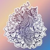 Beautiful Koi carp fish with lotus flowers. Beautiful hand drawn Koi carp fish in lotus water lily flowers. Ornate Asian animal. Symbol of spirituality Stock Photography