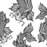 Beautiful Koi carp fish seamless pattern. Beautiful hand drawn Koi carp fish seamless pattern. Ornate Asian animal endless stylish texture. Ornament for of Royalty Free Stock Image
