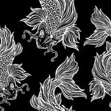 Beautiful Koi carp fish seamless pattern. Beautiful hand drawn Koi carp fish seamless pattern. Ornate Asian animal endless stylish texture. Ornament for of Stock Photos