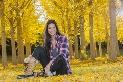 Beautiful Korean Brunette Model Posing In A Field Of Yellow Leav. A beautiful ethnic brunette model posing outdoors in a field of yellow leaves Royalty Free Stock Photo