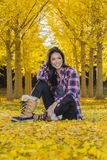 Beautiful Korean Brunette Model Posing In A Field Of Yellow Leav. A beautiful ethnic brunette model posing outdoors in a field of yellow leaves Stock Photo