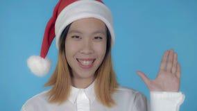 Beautiful korean girl christmas say hi stock photo