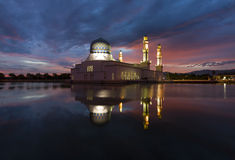 Beautiful Kota Kinabalu city mosque at dawn Stock Photo