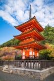 Beautiful Koyasu Pagoda at Kiyomizu temple surrounded by autumn colors in Kyoto, Japan. Up close view of the beautiful Koyasu Pagoda at Kiyomizu-dera buddhist royalty free stock images