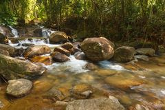 Beautiful Krathing waterfall in National Park, Thailand. Royalty Free Stock Photos