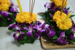 Beautiful krathong handmade my mom. On Loy Krathong day in Thailand Royalty Free Stock Images
