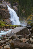 Beautiful Krimml  waterfall and mountain stream on Tauern Nation Stock Images
