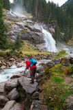 Beautiful Krimml  waterfall and mountain stream on Tauern Nation Stock Image