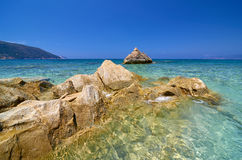 Beautiful Kyriaki beach in Kefalonia island. Beautiful Kyriaki beach in Kefalonia island, Greece Royalty Free Stock Images