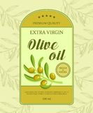 Beautiful label for oil with green olive branch. Vector illustration. Royalty Free Stock Photo