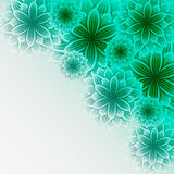 Beautiful lace background with green flowers Stock Photo