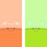 Beautiful lace banners with bow. Suitable for wedding invitation or greeting card. Stock Image