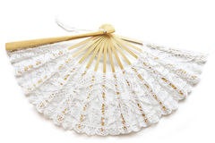 Beautiful lace fan isolated on white Royalty Free Stock Image