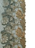 Beautiful lace with floral ornament on white Royalty Free Stock Photos