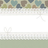 Beautiful lace frame with colorful hearts, bows and polka dots Stock Image