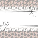 Beautiful lace frame with cute hearts, bows and polka dots. Retro card of spring elements on light background can be used for invitation, banner template Royalty Free Stock Images