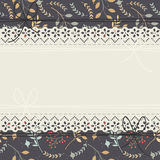 Beautiful lace frame with cute plants, flowers and bows Royalty Free Stock Image