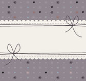 Beautiful lace frame with decorative flowers, polka dots, hearts Royalty Free Stock Photos