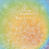 Beautiful lace ornament for merry christmas card Stock Images