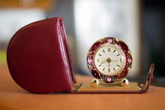 Beautiful Antique Travel Clock. Beautiful ladies antique clock showing 8:30 pm stock photos