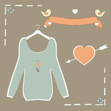 Beautiful ladies blue jacket on a hanger in a retro style vector. Stock Images