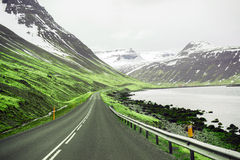Beautiful ladnscape of highway and fjord at Iceland Stock Photos