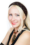 Beautiful lady. Wearing headscarf and necklace Royalty Free Stock Image