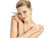 Beautiful lady with arms crossed over her chest. stock images