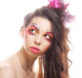 Beautiful lady with artistic make-up. Royalty Free Stock Photo