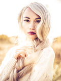 Beautiful lady in autumn landscape Royalty Free Stock Images