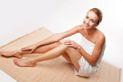 Beautiful lady in a bath towel Royalty Free Stock Photography