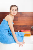 Beautiful lady in bathroom Royalty Free Stock Photos