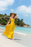 Beautiful lady on the beach Stock Image